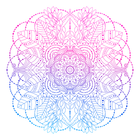 Pink and blue gradient colored mandala, vibrant floral decorative design element in boho style isolated on white background, ethnic asian arabesque, line art, vector illustration.