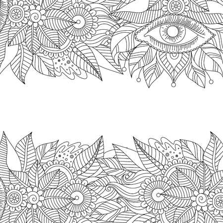 Ethnic floral background pattern with eye. Boho design. Black and white ornament for greeting card, coloring book, invitation. Vector illustration.