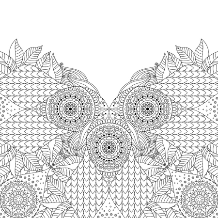 Card with black and white arabecque ethnic boho ornament. Can be used for coloring book, invitations. Vector illustration.