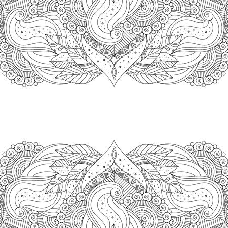 Black and white indian ethnic, asian eastern patterns on white background. Decorative elements for greeting card, invitation, coloring book. Vector illustration.
