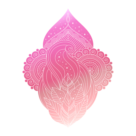 Vector decorative ornamental isolated floral element, asian ethnic art, gradient pink colored illustration in boho style.