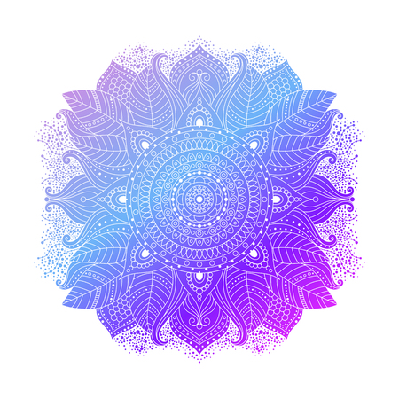 Blue purple violet gradient coloring mandala, vibrant floral ornament in boho style, asian art, isolated element, vector illustration.