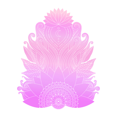 Spiritual symbol, ornamental cold pink lotus flowers and leaves, ethnic asian art. Hand drawn Indian decorative isolated element for tattoo, yoga, boho clothes design.