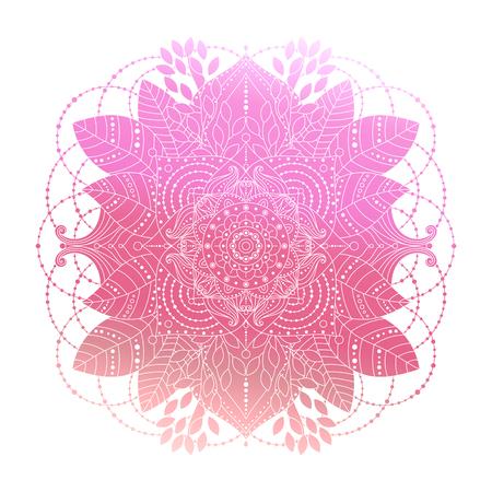 Pink gradient coloring mandala, vibrant floral ornament in boho style, asian arabesque art, isolated element, vector illustration. Ilustração