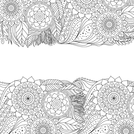 Ethnic floral background pattern with mandalas. Boho design. Black and white ornament for greeting card, coloring book, invitation. Vector illustration.