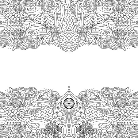 Black and white chinese, japanese, asian eastern patterns on white background. Decorative elements for greeting card, invitation, coloring book. Vector illustration. Ilustração