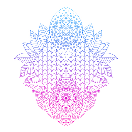 Blue, violet and pink gradient colored art, bright floral ornament with tiled pattern in boho ethnic style, isolated on white background, design element, line art, vector illustration.