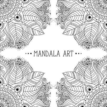 Black and white floral doodle ethnic boho ornament. Decorative frame. Can be used for coloring book, invitations. Vector illustration. Ilustração