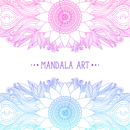 Hand drawn mandala and flower pattern. Ethnic oriental boho design, pink and blue decorative border for invitation, poster, greeting card. Vector art.