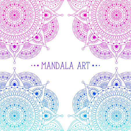 Pink and blue lace eastern frame for design with circle ornaments. Boho ethnic arabesque pattern for invitations, greeting cards. Vector illustration.