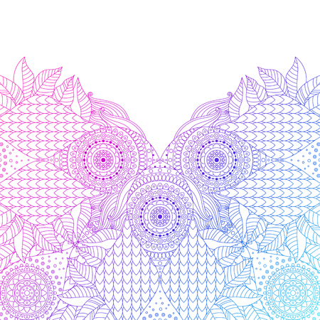 Pink and blue lace arabesque pattern for design. Boho ethnic ornament for invitations, greeting cards. Vector illustration.