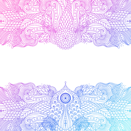 Beautiful lace abstract line art pattern in boho style, card with pink and blue ethnic oriental chinese ornament on white background, vector illustration.