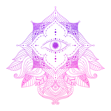 Mystic decorative element - seeing eye in floral frame, pink and violet colored. Psychedelic, esoteric, magical symbol, line art. Vector isolated illustration for web design, prints, tattoo.