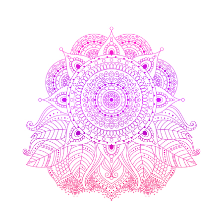 Purple pink gradient colored mandala, line art, bright floral ornament in boho style, or hippie, gipsy, isolated on white background, asian design element, vector illustration.