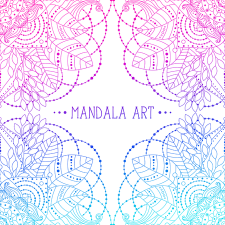 Ethnic Indian patterns, frame with floral mandalas pink and blue colored, vector art, can be used for greeting card, invitation.