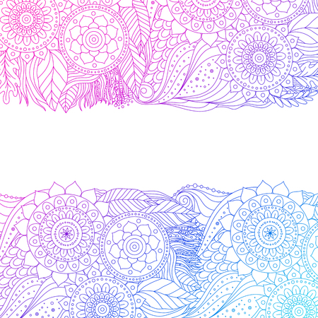 Ethnic floral pattern with mandalas. Boho design. Pink and blue ornament border on white background, line art, for greeting card, invitation. Vector illustration. Ilustração