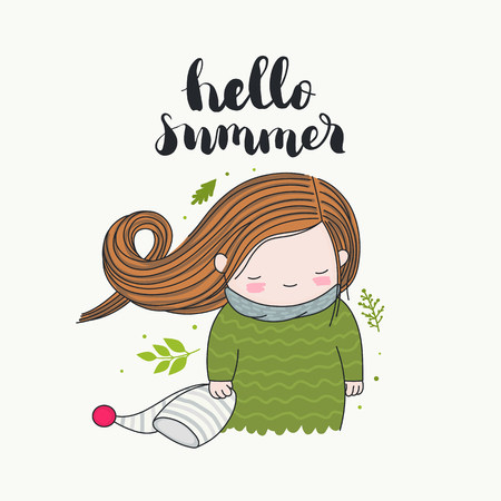 Hello summer - handwritten lettering, a smiling girl holding a beanie, long hair flying in the wind, green leaves. Isolated on white background. Vector cartoon art. Ilustração