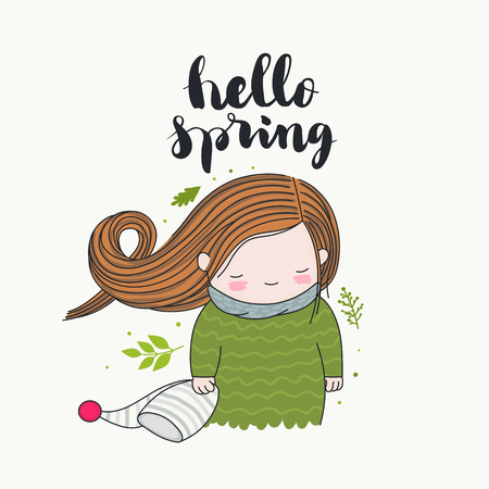 Hello spring - handwritten lettering, a smiling girl with long hair flying in the wind, and green leaves. Isolated art. Vector cartoon illustration.