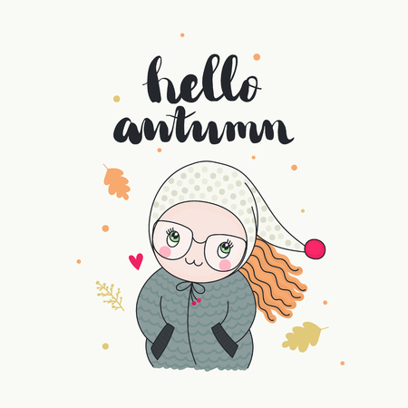 A cute girl in funny beanie and glasses with ginger hair, leafs in the wind, hello autumn handwritten lettering. Cartoon hand drawn illustration, vector art.