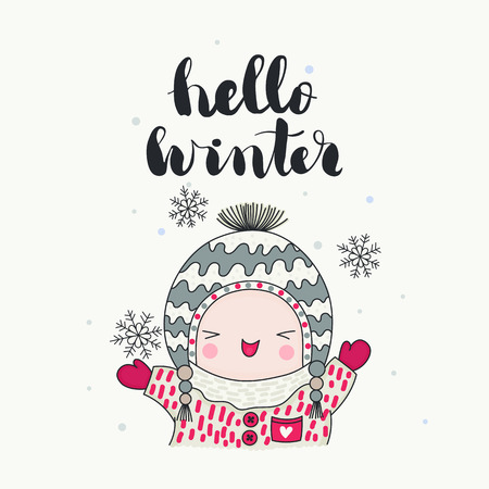 A cute laughing character in funny hat and snowflakes, hello winter handwritten lettering. Cartoon hand drawn illustration, vector art. Ilustração
