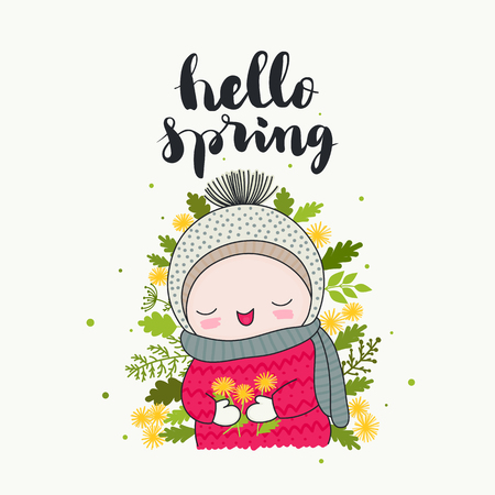 Hello spring - handwritten lettering, a smiling cute child with dandelions flowers, and green leaves. Isolated vector cartoon illustration.