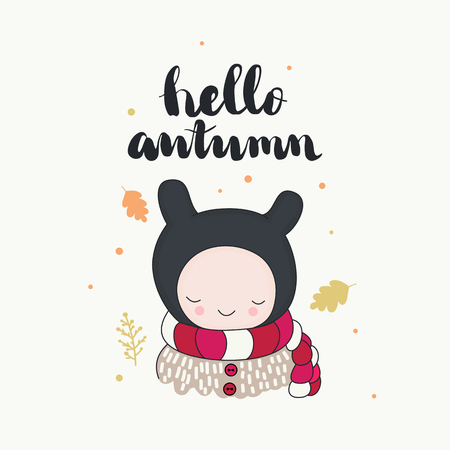 A cute smiling character in funny beanie and warm scarf, leaves in the wind, hello autumn handwritten lettering. Cartoon hand drawn illustration, vector art. Ilustração