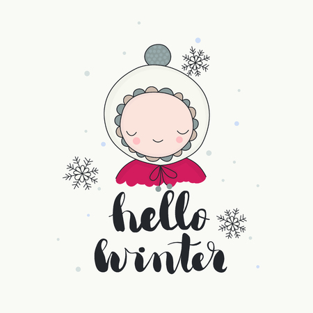 A cute smiling character in funny beanie, snowflakes, hello winter handwritten lettering. Cartoon hand drawn illustration, vector art. Ilustração