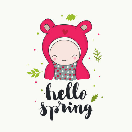 Hello spring - handwritten lettering, a smiling cute child in a hood with ears and heart, and green leaves. Greeting card. Isolated vector cartoon illustration.