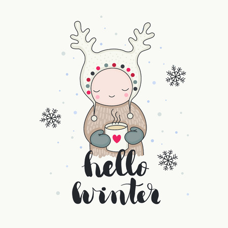 A cute smiling child in funny hat with a mug of tea, reindeer horns, snowflakes, hello winter handwritten lettering. Cartoon hand drawn illustration, isolated vector art.