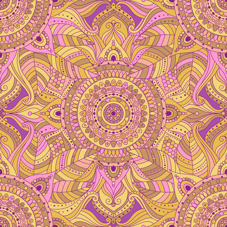 Tribal vintage ethnic seamless pattern with floral mandala. Pink and yellow oriental ornament, boho gypsy style. Vector background. Ilustração