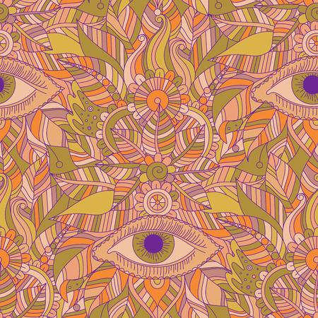 Ethnic floral hand drawn seamless pattern with mystery eyes, vector vintage tribal background, boho design. Ilustração