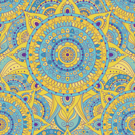 Tribal vintage ethnic seamless pattern with mandalas. Blue and yellow oriental tiled ornament, boho gypsy style. Vector background.