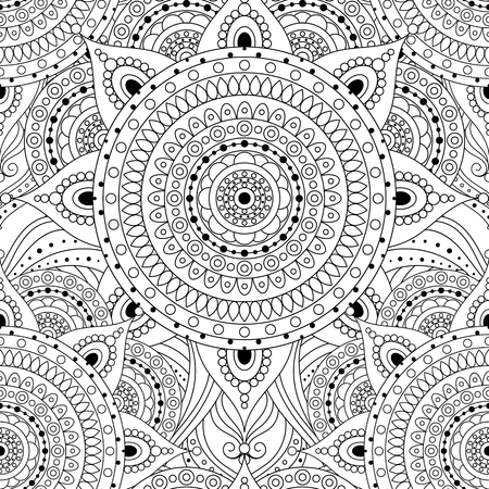 Tribal vintage ethnic seamless pattern with mandalas. Black and white oriental tiled ornament, boho gypsy style. Vector background.