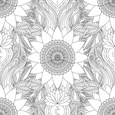 Seamless boho pattern. Stylized floral background with blavk and white lotus flowers, mandalas, and waves. Ethnic design in vector, Indian, Asian motifs. Ilustração