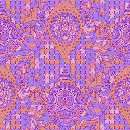 Tribal vintage ethnic arabesque seamless pattern. Violet, purple oriental tiled ornament, boho design. Vector background. Ilustração