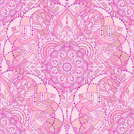 Seamless background with pink mandala. Gypsy, ethnic boho design, Indian or Arabic motifs, arabesque tiled vector pattern. Ilustração