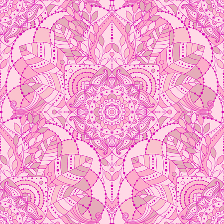 Seamless background with pink mandala. Gypsy, ethnic boho design, Indian or Arabic motifs, arabesque tiled vector pattern. Illustration