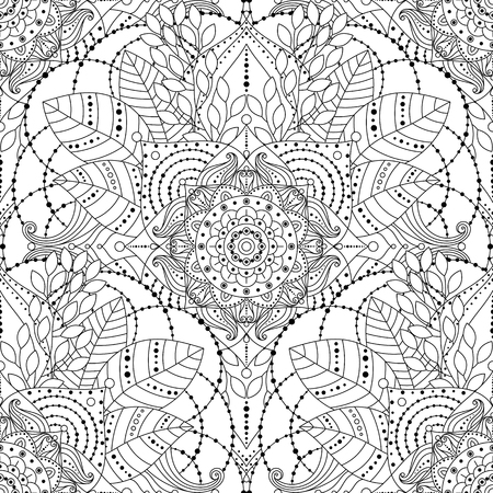 Tribal vintage ethnic seamless pattern with floral mandala. Black and white oriental ornament, boho gypsy style. Vector hand drawn background.