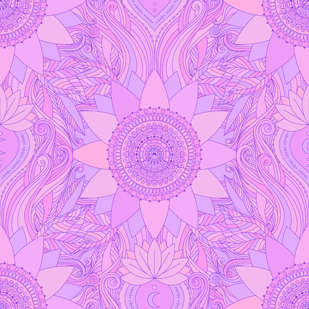 Seamless boho pattern. Stylized floral background with pink lotus flowers, mandala, and waves. Gypsy, ethnic design in vector, Indian, Asian motifs.