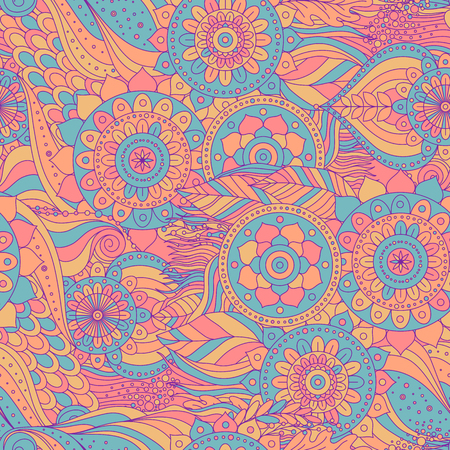 Boho ethnic asian seamless pattern. Hand drawn abstract ornament with floral details and mandalas. Vector background.