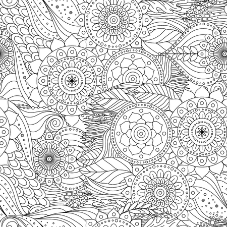 Tribal vintage floral ethnic seamless pattern with mandalas. Black and white oriental tiled ornament, boho design. Vector background. Çizim