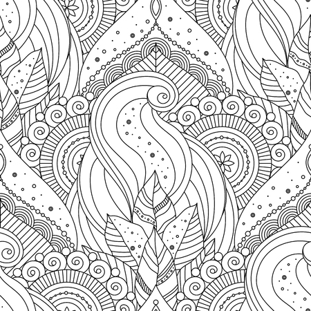 Tribal vintage floral ethnic seamless pattern with mandalas. Black and white oriental asian Indian ornament, boho design. Vector background.