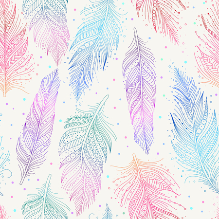 Pink, blue, green and violet feathers on white background seamless pattern, hand drawn art, boho style, vector illustration. Ilustração
