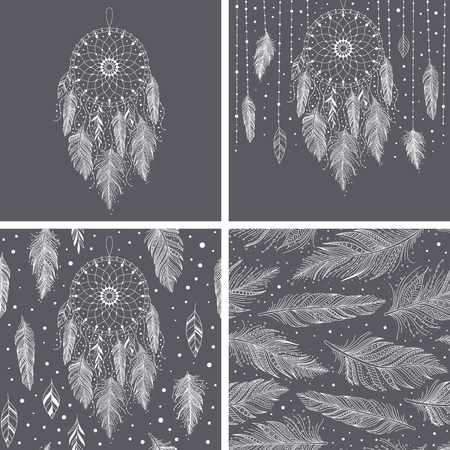Gray and white feathers and dreamcatchers, set of cards and seamless pattern with floral details, vector illustration boho design, can be used for invitation, postcard. Ilustração