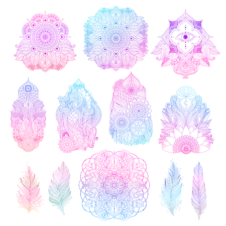 Set of boho floral design elements for tattoos, invitations, posters, gradient blue and pink colored patterns, outline oriental Asian Indian art objects isolated, mandalas, feathers, lotus. Vector. Ilustração