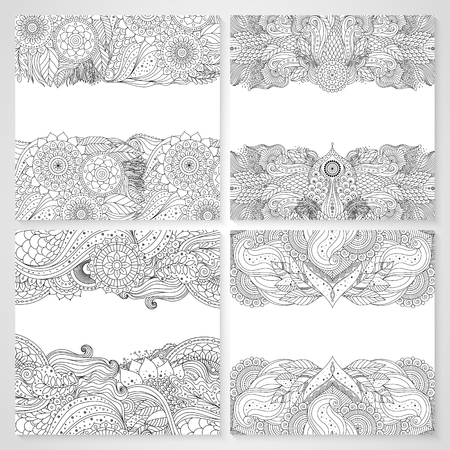 Set of cards with ethnic floral lace pattern with mandala and abstract patterns. Boho design. Black and white oriental Asian Indian ornaments borders, outline. Vector illustration.