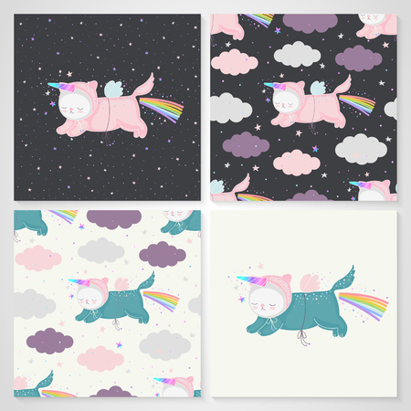 Set of cute unicorn cats with a rainbow in the night sky and seamless patterns in vector. Animal character for design - postcards, kids textile, fabric. Ilustração