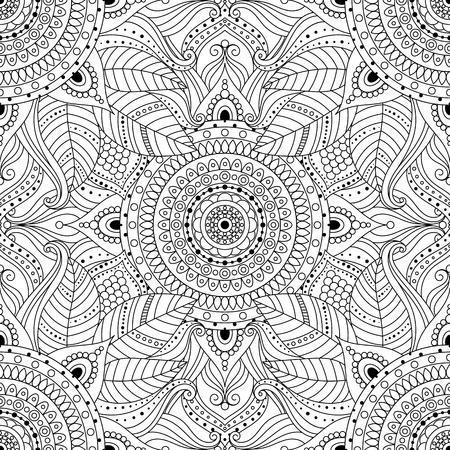 Patrón transparente étnico vintage tribal con mandala floral. Adorno oriental en blanco y negro, estilo boho gitano. Fondo de vector. Ilustración de vector