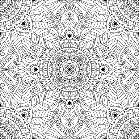 Tribal vintage ethnic seamless pattern with floral mandala. Black and white oriental ornament, boho gypsy style. Vector background.
