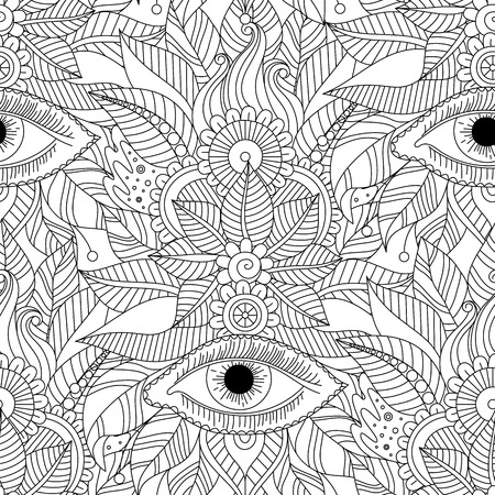 Ethnic floral hand drawn seamless pattern with mystery eyes, vector vintage tribal background, boho design. Black and white art.